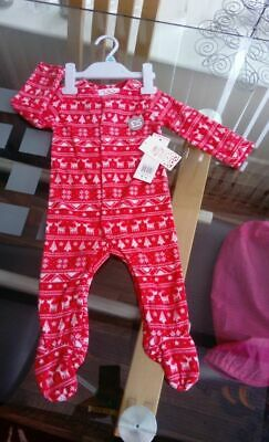 6 - 9 Months Baby Christmas Fleecy Sleepsuit Red Nordic All-in-One BNWT