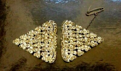 """Art Deco 1930's Quality Pair  Marcasite Silver Plated Dress Clips 3 """""""