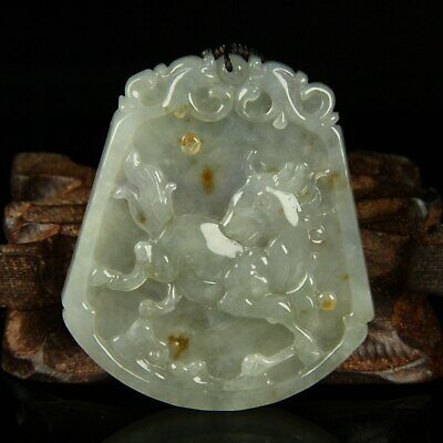 Chinese Exquisite Hand-carved horse Carving jadeite jade Pendant