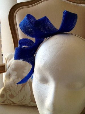 Blue loop sinamay fascinator in a silver headband. Gorgeous on!