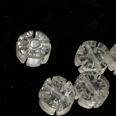 Vintage Carved Chinese Clear Quartz Rock Crystal Flower Shape Bead 10mm