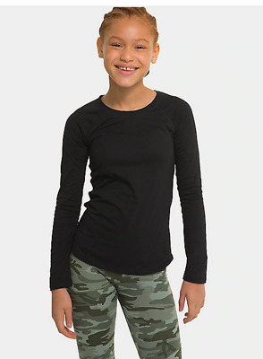 Justice Girls Size 12 Long Sleeve Black Top New With Tags