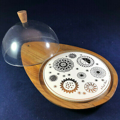 Fred Press Mid Century Modern Wood Serving Tray with Dome Made in USA MCM