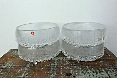 """Iittala Finland 4 x """"Ultima Thule"""" Icicle Textured Small Dessert Bowls  - 3 Toed"""
