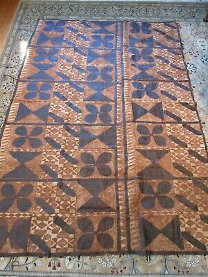"""Large Vintage Hand Crafted Tapa Bark Cloth Rectangle 87"""" X 58""""  Made in Samoa"""