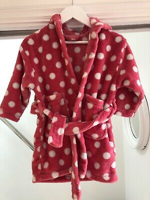 Next Girls Pink And White Polka Dot Fluffy Dressing Gown 1.5 -2 Years