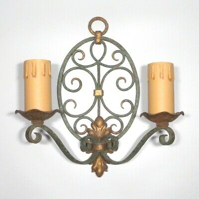 """Vintage French Wrought Iron & Tole Sconce, Hand Forged, """"French Riviera"""" Style"""