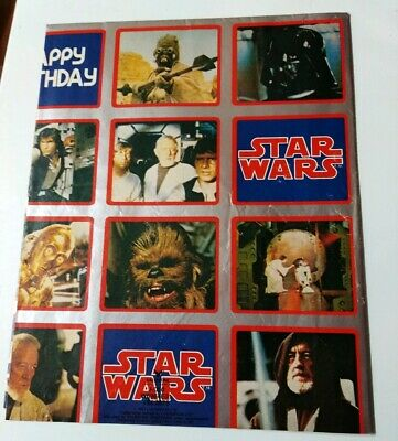 Used Sheet Of Vintage 1977 Star Wars Gift / Wrapping Paper.