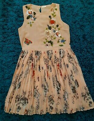 Next Girls Floral Pleated Sequin Dress Size 15 Years Or Approx Size 6