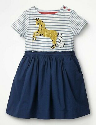 Girls Mini Boden Sequin Color Change Dress SIZE 9 - 10 Blue Unicorn