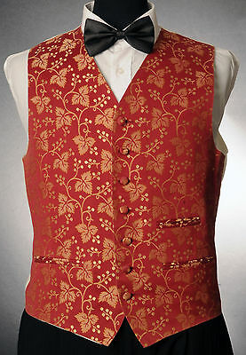 W1032.Mens/Boys Red Floral Finish Waistcoat / Dress/ Suit / Party / Formal