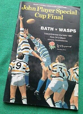 RFU Bath v Wasps- John Player Cup Final 2 May 1987 RUGBY PROGRAMME & Tickets