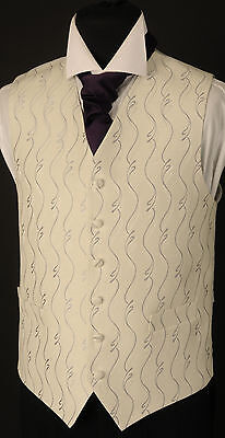 """W104. Mens """"Exmouth"""" pattern silver waistcoat - wedding / dress / suit / party"""