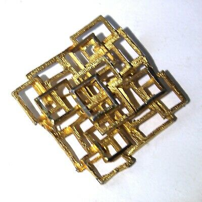 Vintage Gilt Abstract Brooch Pin Textured Mid Century Modern Brutalist 1960s