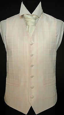 W483. Pink Square Pattern Waistcoat By Heirloom - Wedding / Dress / Suit /Party