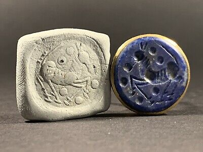 Near East Bronze Polished Seal Ring W Lapis Lazuli Seal Stone Circa 1600-1700 Ad