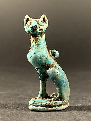 Scarce Ancient Egyptian Faience Bastet Statuette - Circa. 770-332Bc