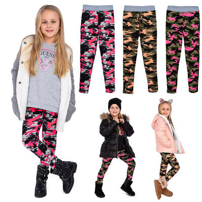 Girls Thick Warm Leggings Solid Military Childs Pants Winter Kids Trouser FS6940