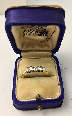 Antique Art Deco 18ct Yellow Gold 0.30ct 5 Stone Diamond Ring Size N