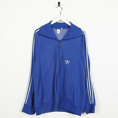 Vintage 80s ADIDAS Small Logo VENTEX Tracksuit Top Jacket Blue | XL