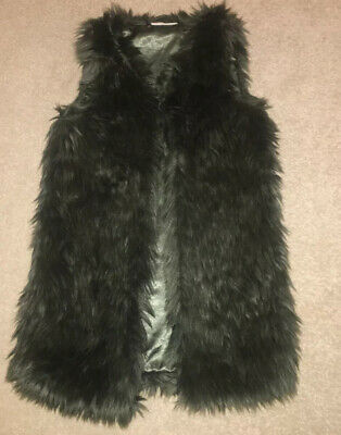 RRP £22* Cute Girls NEXT Green Lined Faux Fur Gilet Bodywarmer* Age 7