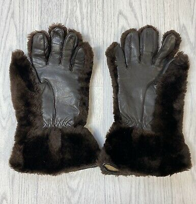 Vintage DENTS Gauntlets Fur Leather Gloves Large Ladies