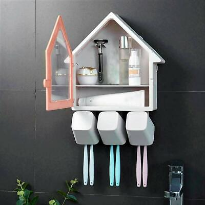 6 Toothbrush holder wall mount house shape toothpaste dispenser 3 brushing cup
