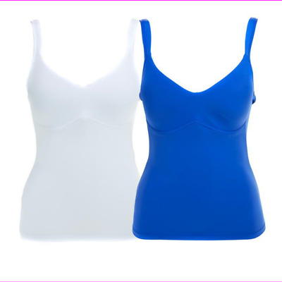 Rhonda Shear Everyday Molded Cup 2 Pack Camisole in Blue/White, Medium