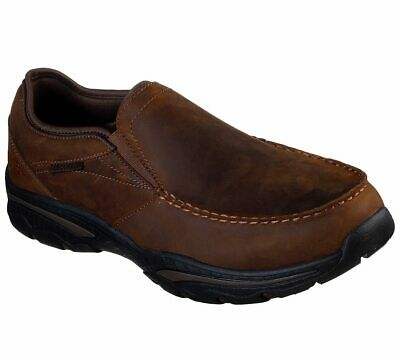 SKECHERS MEN BROWN Shoes Memory Foam Slip On Comfort Casual