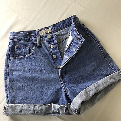 vtg Guess Georges Marciano Womens 28 High Waist Button Fly Denim Jean Shorts