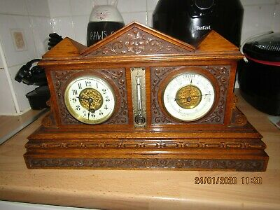 Stunning Edwardian Clock Barometer thermometer in carved light Oak