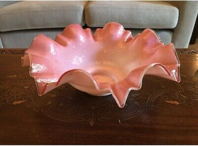 Antique Glass Pink and White Iridescent Ruffled Bowl