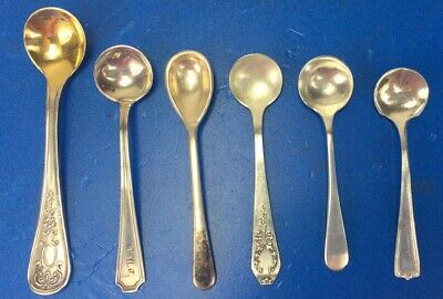 6 - Assorted Sterling Silver Salt Spoons