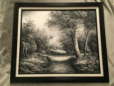 B&W Grey Forest path Trees Mountain Nature Large Oil Painting on Canvas Framed