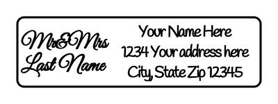800 Mr & Mrs Personalized Return Address Labels 1/2 inch by 1 3/4 inch
