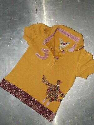 Joules girls cotton short sleeve dark yellow polo shirt size 5 years