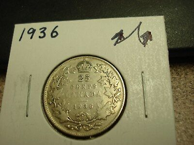 1936 - Canada Silver Quarter - Circulated - Canadian 25 cent coin