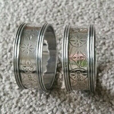 Pair Of Antique English Sterling Silver Napkin Rings, Birmingham,  1909