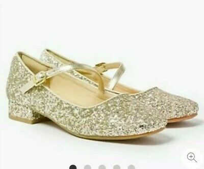 Gold SPARKLY Glitter shoes GIRLS size 3 M&S