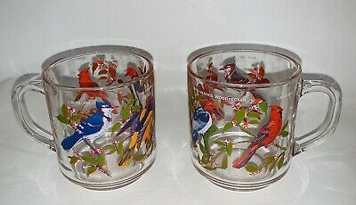 2 Vintage Arcoroc France Clear Painted Glass Coffee Cup Mug 8 Oz Wild Birds