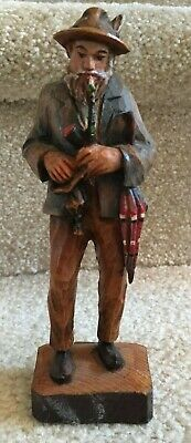 "Dobin Switzerland Carved Wood Old Man with Pipe & Umbrella  6 1/4""  FREE SHIP"