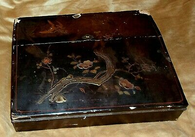 Antique ASIAN Lacquer LAP DESK PAINTED Wood BIRD Cherry BLOSSOMS Chinese