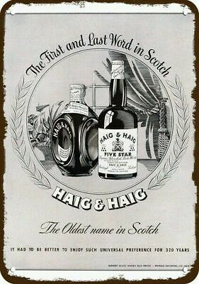 1947 HAIG & HAIG Scotch - OLDEST NAME IN SCOTCH Vintage Look REPLICA METAL SIGN