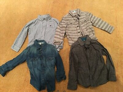 Boys Shirts x 4 Age 4 5 6 John Lewis M&S GAP Nutmeg Smart Casual Denim VGC