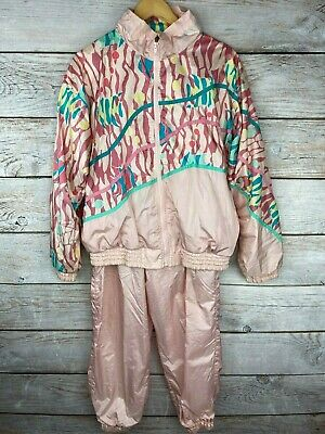 Vtg London Fog Women's Large Fish Track Suit, Pink Geometric 80s Jacket + Pants