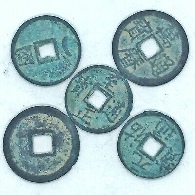 5 Old Chinese Brass Coins Tokens Bronze Asian Pendant Ancient Style Medals