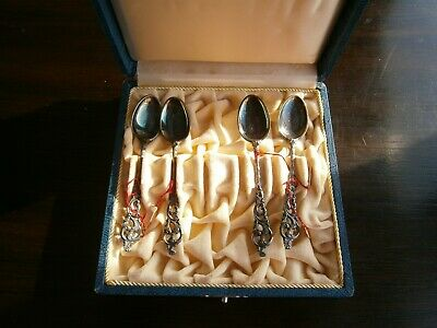 Set of 4 Brodrene Lohne Demitasse Spoons 830S DOBELL ROKOKKO with Box Norway