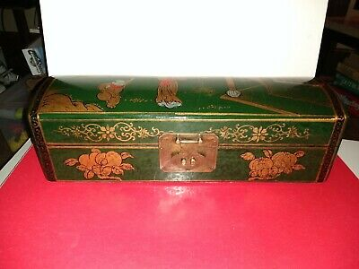 JEWELRY PILLOW BOX CHINESE WOODEN Vtg Asian Lacquer Storage Curved Lid