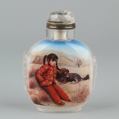 Chinese Exquisite Handmade child dog Glass Inside painting snuff bottle