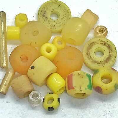 15+ Yellow Ancient & Medieval Glass Beads Mixed Old Roman, Venetian, Byzantine